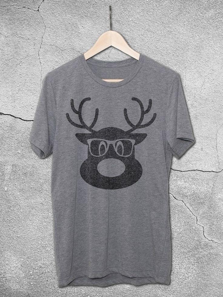 Christmas Shirts 2017 | Hipster Reindeer Vintage Tee – Hello Floyd - Funny Christmas Shirts