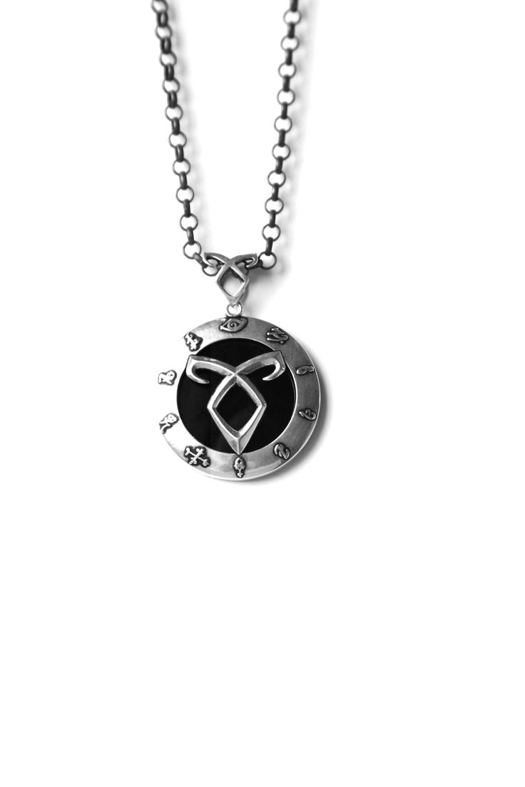 925 Oxidized Silver Circle of Runes with Black Onyx Pendant on 16 Inch Chain. Runes used are important in the movie City of Bones.  Designed And Made In USA By Amyn The Jeweler For The Mortal Instruments : City Of Bones  Made In USA  Designer: Amyn The Jeweler   (Cloud 21 PR Gifting Suite, Product Placement)