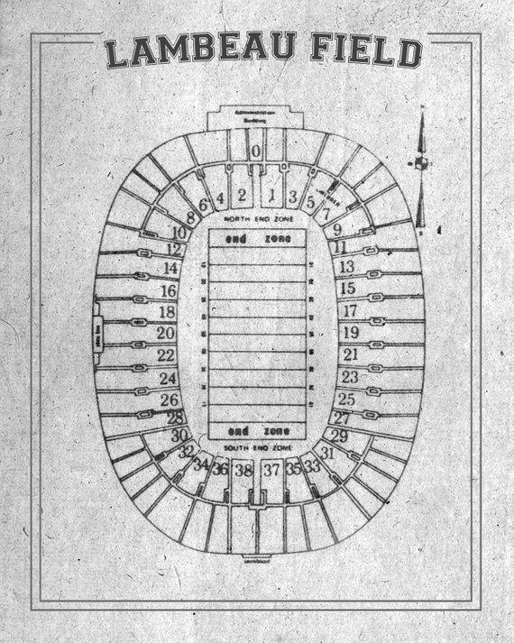 Print Of Vintage Lambeau Field Seating Chart Seating Chart On Etsy Lambeau Field Print Hanging Art