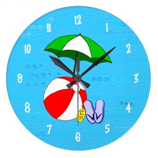 Beach Ball Pool Toys Wall Clock White Numbers   Zazzle.com