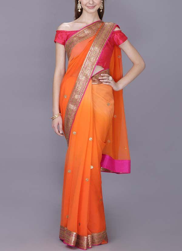 9400360ba17c11 Gold Tangerine Saree in 2019 | Silk saree blouse | Saree, Saree ...