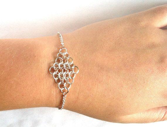 Silver and copper chainmail bracelet cotte de maille pinterest cotte de mailles filets et - Fabrication cotte de maille ...