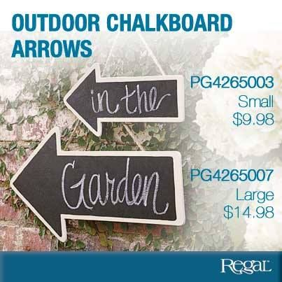 """OUTDOOR CHALKBOARD ARROWS Wooden chalkboard arrows hang with jute twine to face left or right. Use indoors or out to provide tasteful directional signage to any special occasion location or destination! Small (11-3/4""""L x 5""""W) - Large (17-3/4""""L x 8-1/2""""W)"""