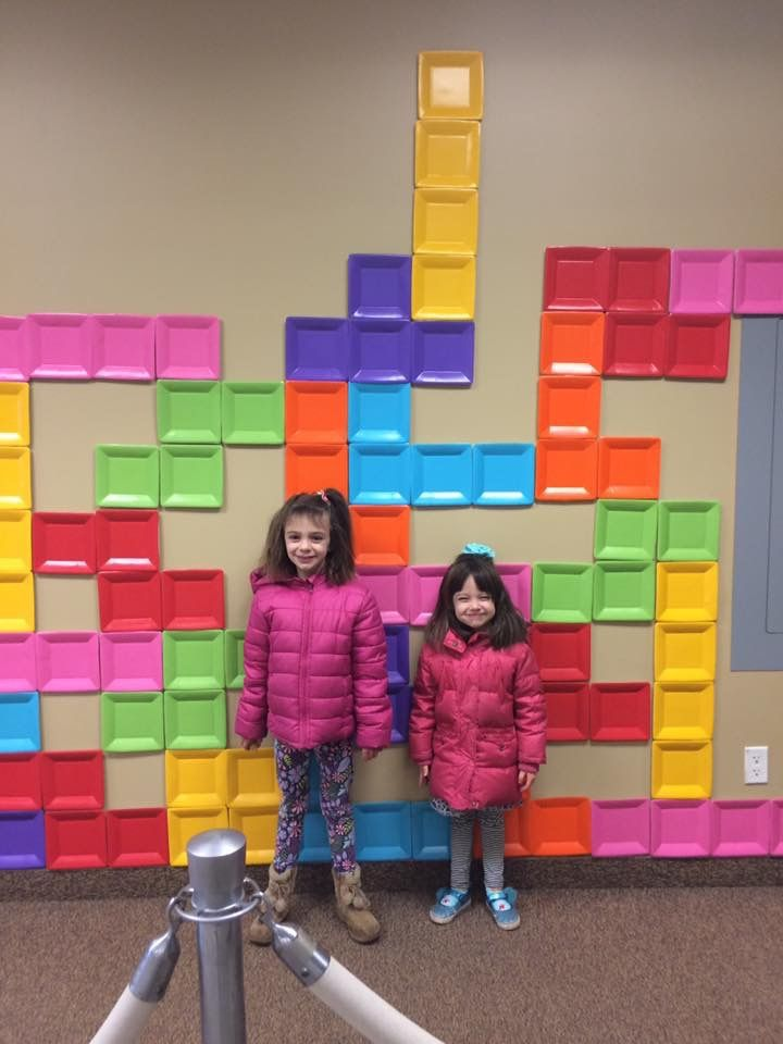 TETRIS WALL! Maybe use popsicle sticks to make the shapes stay together and velcro to let them play it on the wall? Or something like that?!