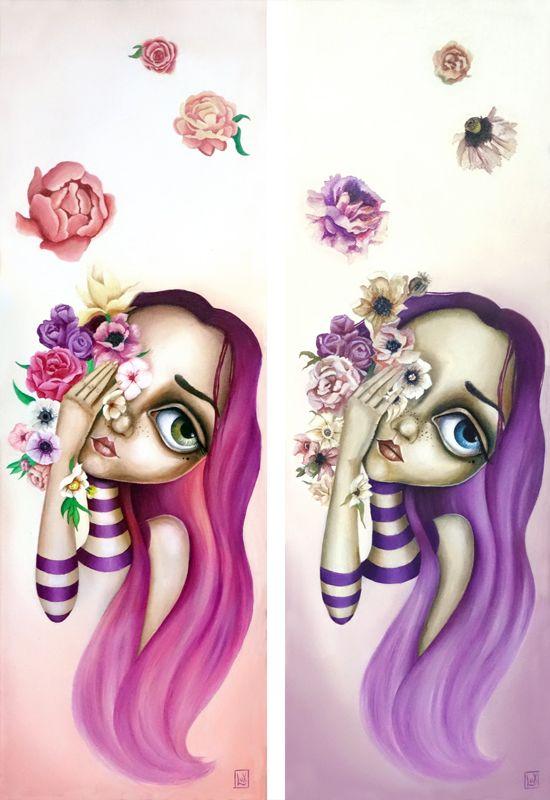 Lasciami Appassire by Lux #oil #painting #surrealism #surreal #flower #popsurreal #lowbrown #purple #dryflower