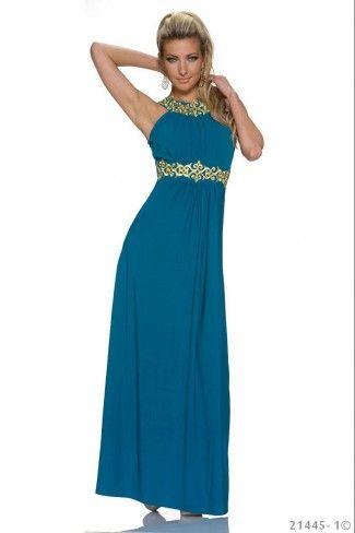 Εντυπωσιακό μάξι φόρεμα - Πετρόλ