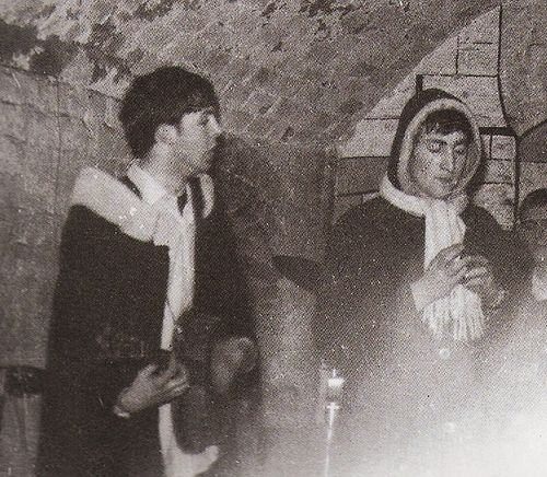 "thateventuality:    Scan - Paul McCartney and John Lennon at the Cavern: ""The Beatles came back from Hamburg and the fan club organized a welcome home party at the Cavern. John and Paul dressed up as Santas (after all, it was the middle of summer!), and played a couple of songs with the Fourmost, whose first two hits, 'Hello Little Girl' and 'I'm In Love,' were written by John and Paul,"" writes Mike McCartney  Photo: Mike McCartney"