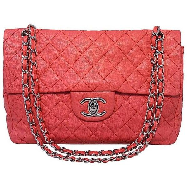 Preowned Chanel Dark Pink Relaxed Caviar Leather Jumbo Classic Flap... ($5,500) ❤ liked on Polyvore featuring bags, handbags, shoulder bags, pink, structured shoulder bags, leather handbags, pink purse, genuine leather shoulder bag, chanel handbags and red leather handbags