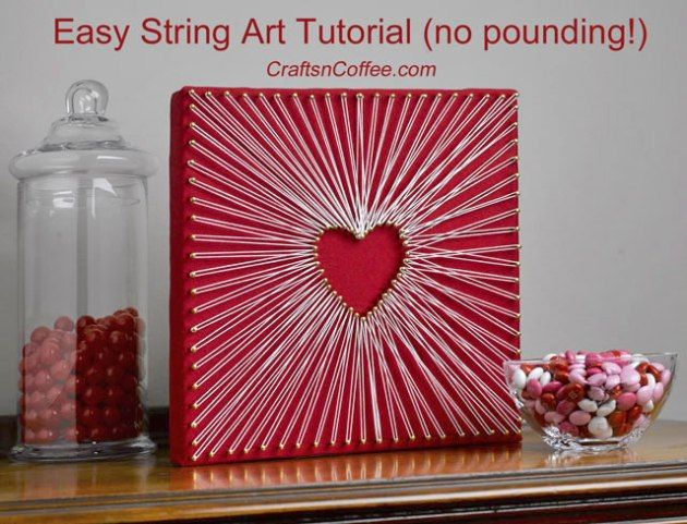 DIY an easy String Art Heart -- no pounding! CraftsnCoffee.com.