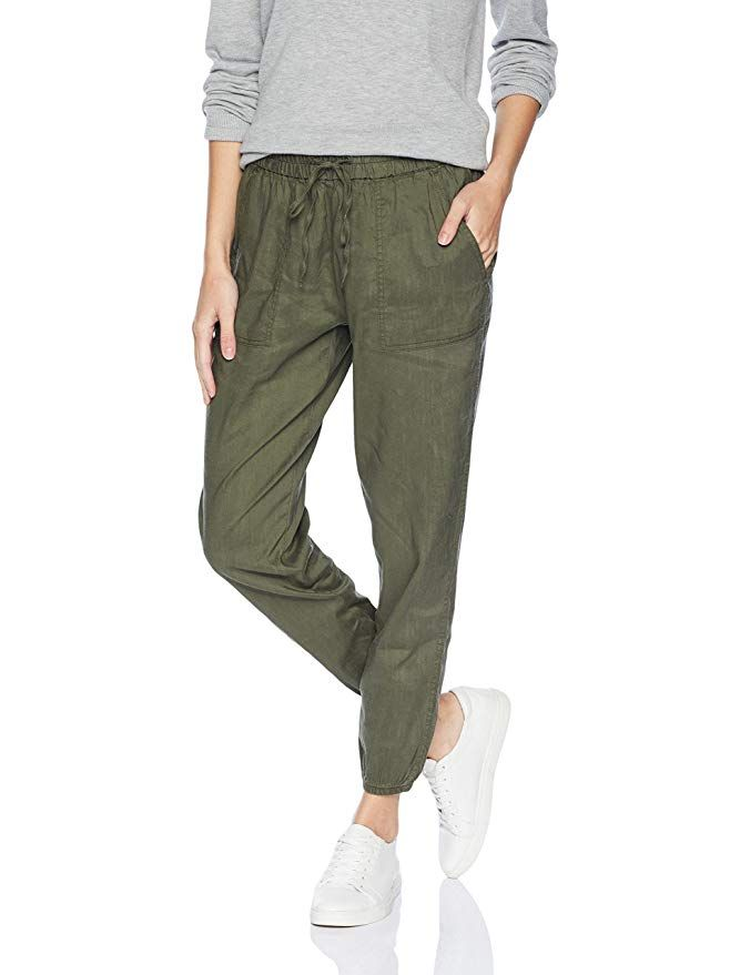 2a1acc1588 Daily Ritual Women's Stretch Linen Jogger Pant, Olive, Large ...