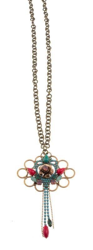 """Xylosma"" - Handmade bronze metal plated necklace with Swarovski strasses and glass stone, by Art Wear Dimitriadis"