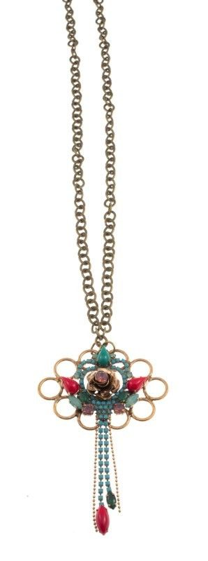 """Xylosma"" - Handmade bronze metal plated necklace with Swarovski strasses and glass stone, by Art Wear Dimitriadis"