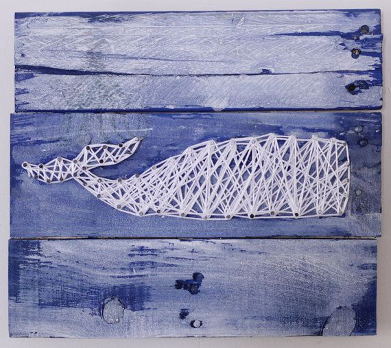 String Art Whale on reclaimed wood canvas by ElevenOwlsStudio