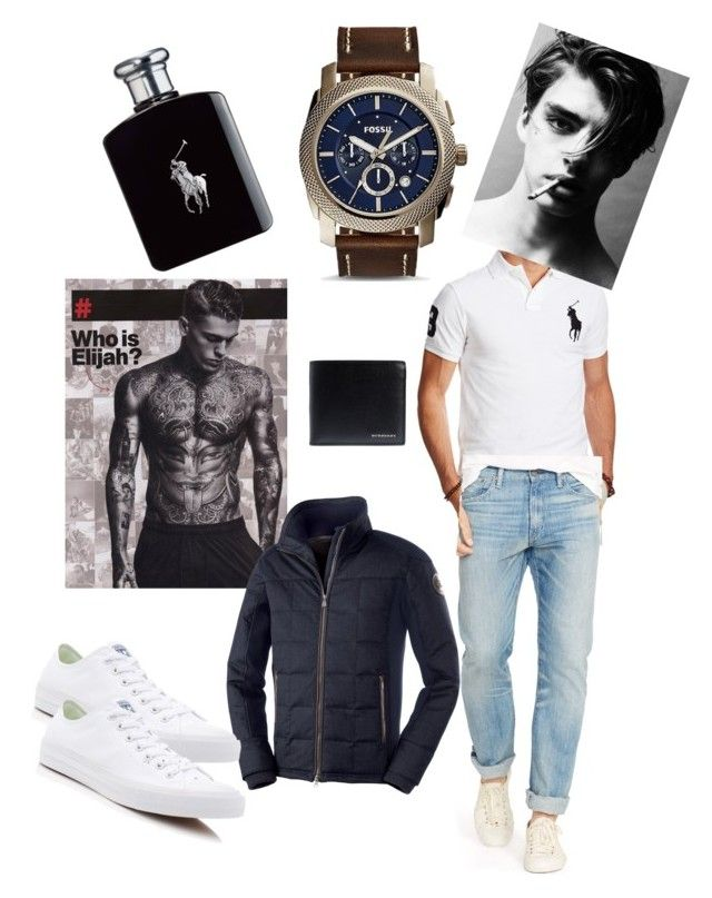 """Guy style"" by fashion-girl-katrina on Polyvore featuring Polo Ralph Lauren, FOSSIL, Ralph Lauren, Converse and Burberry"