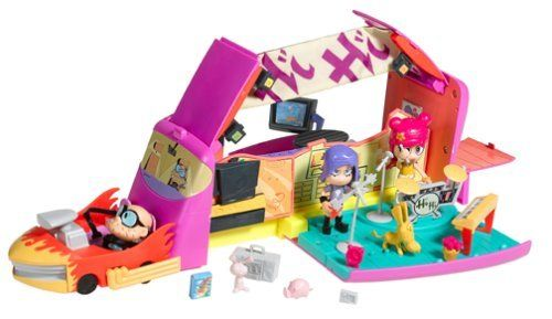 Hi Hi Puffy Ami Yumi Rockin World Tour Bus Playset by Mattel. $12.73. The Rockin? World Tour Bus is the vehicle for every rockin? musician?s world tour ? and Yumi and Ami always travel in style. This tour bus has lots of cool features: one side has a stage for the girls to play their drums and practice singing, and the other side is their chill lounge, where Yumi and Ami can make smoothies, eat sushi or just relax. There?s also a dressing room for all those great rock star out...
