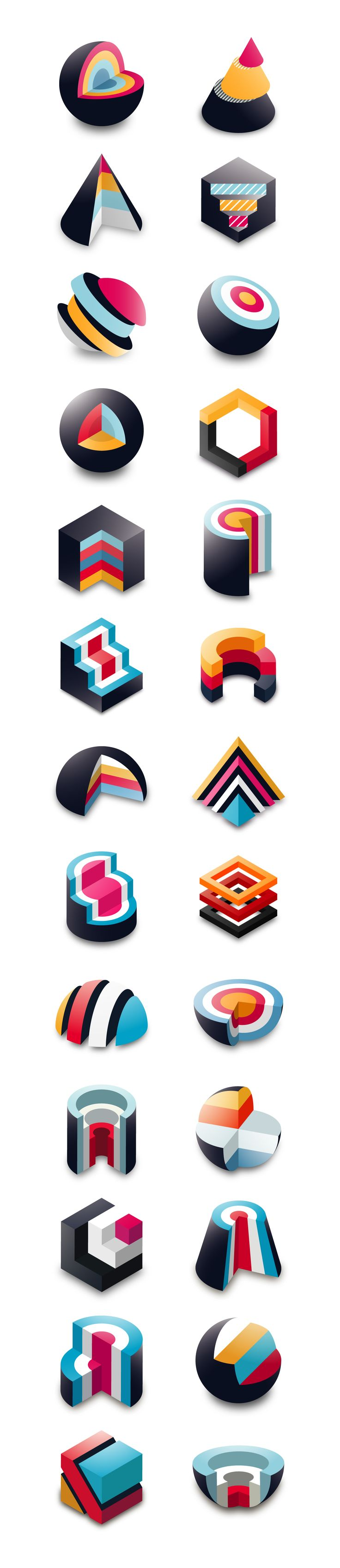 This project is a result of my exploration in the world of geometry. Momentum idea transformed into a real passion. Conceptually attractive shapes in combination with the vibrant colours create unusual feeling of the isometric beauty.