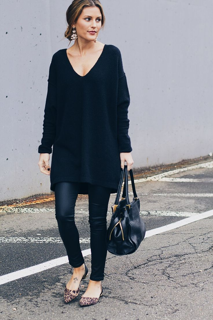 leopard flats & all black outfit