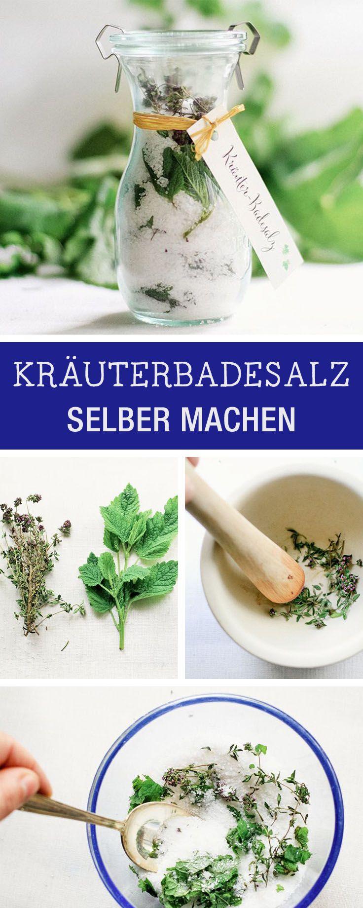Beauty DIY: Badesalz mit aromatischen Kräutern selbermachen / wellness diy: homemade bath salts with herbs via DaWanda.com