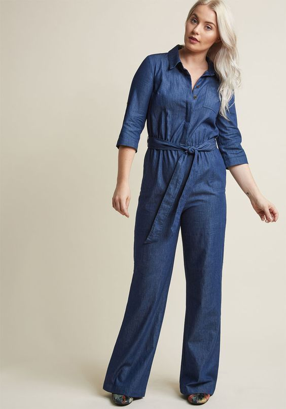 3ddb43ba6801 ModCloth Chambray Jumpsuit With Pockets and Sash XL 3 4 Sleeve Collared Blue   BBDakota  Jumpsuit  CasualAnyOcasion