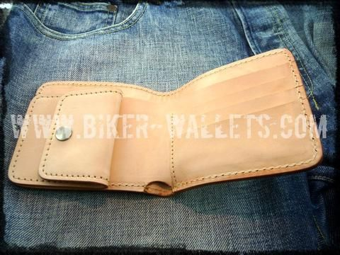 """Runaway"" 4"" Custom Handmade Natural Saddle Leather Biker Wallet"