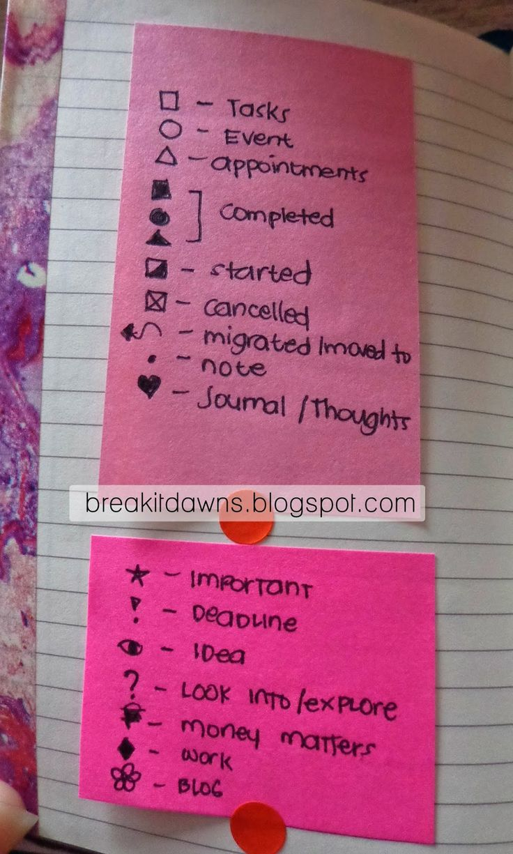 Key for Bullet Journal. I like starting w/ stickies at first in case I change symbols as I learn.