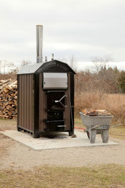 outdoor wood furnace heater - hot water for house & shop heating plus domestic hot water