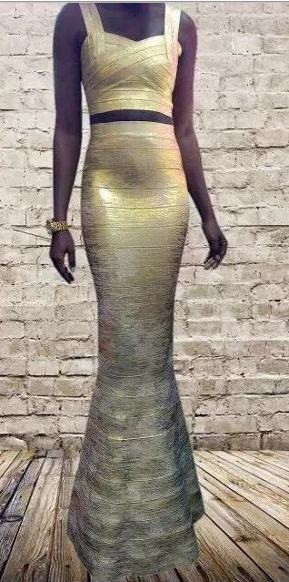 'AMIRA' FOIL GOLD TWO PIECE FULL LENGTH BANDAGE DRESS