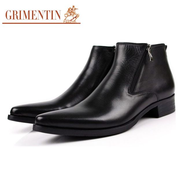 Good price GRIMENTIN men boots genuine leather black Pointed Toe luxury fashion classic business office formal ankle boots men shoes male just only $114.95 with free shipping worldwide  #menshoes Plese click on picture to see our special price for you