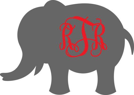 5 inch Vinyl Car Decal Elephant Design Monogram by BeachyMommas, $8.00