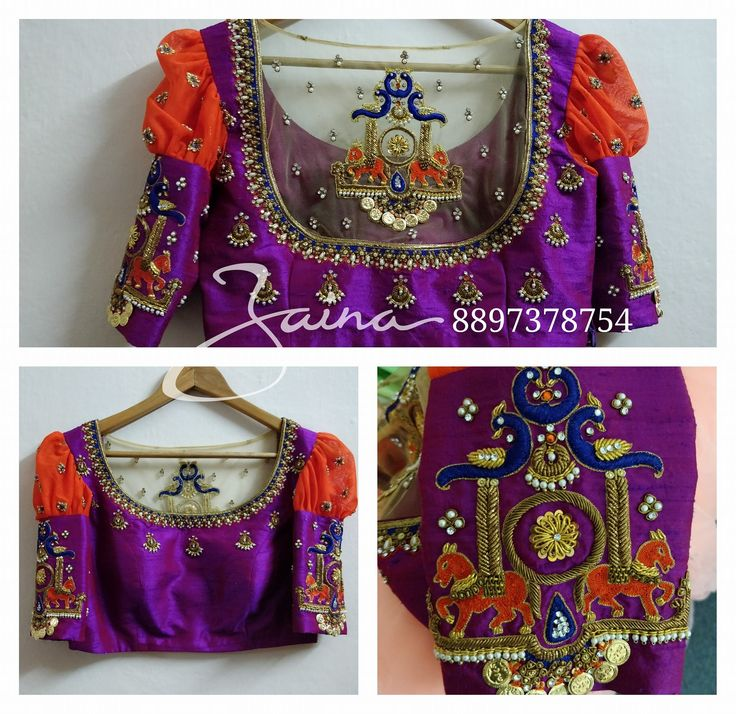 Beautiful purple color designer blouse with chaandbali design hand embroidery thread and bead work. Horse and Peacock design hand embroidery thread work on sleeves and back of blouse. 18 February 2018