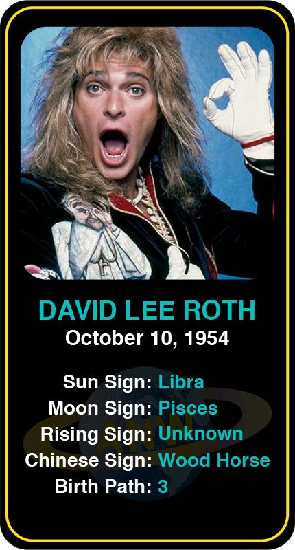Celeb #Libra birthdays: David Lee Roth's astrology info! Sign up here to see more: www.astroconnects.com #astrology #horoscope #zodiac #birthchart #natalchart #davidleeroth
