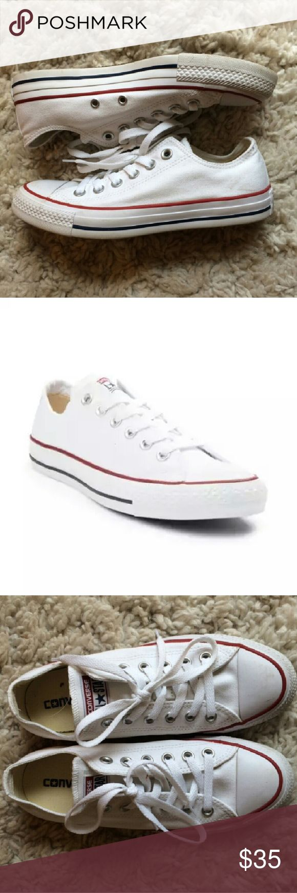 Converse Chuck Taylor All Star Lo Sneaker NEVER WORN classic all white Chuck Taylors with blue and red stripe on sole. Mint condition. Mens size 5.5, womens 7.5  Comment with any questions!?? Converse Shoes Sneakers