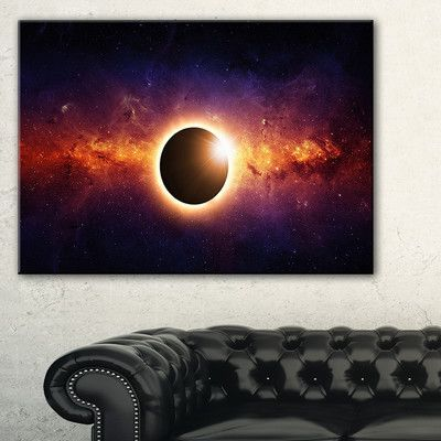 """DesignArt 'Full Eclipse View' Graphic Art on Wrapped Canvas Size: 30"""" H x 40"""" W x 1"""" D"""