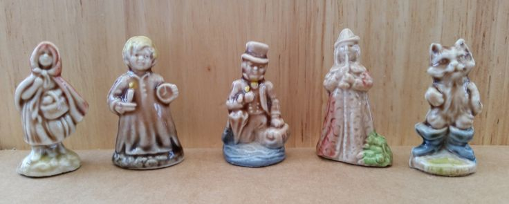 Five Vintage Wade Whimsie Nursery Rhyme Figures - Dr Foster, Red Riding Hood, Pied Piper, Puss In Boots, Wee Willie Winkie, Wade Whimsies by OnyxCollectables on Etsy