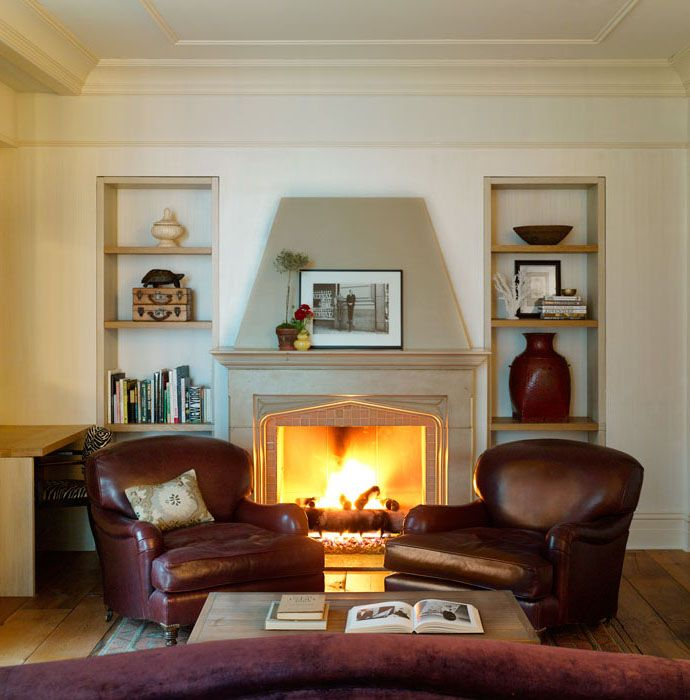 Attrayant Leather Club Chairs Flanking Fireplace Rice Place