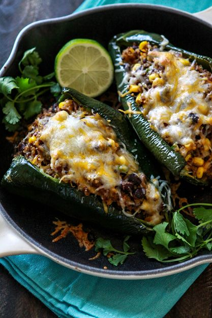 Shredded Beef, Black Bean and Quinoa Stuffed Poblanos. Suggested ...