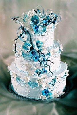 Gateau de mariage turquoise