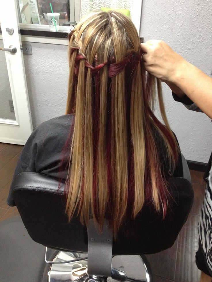 Burgundy Underneath And Highlights On Top Waterfall Braid