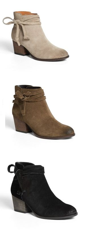 Suede booties: I'll take a pair in each color, please!