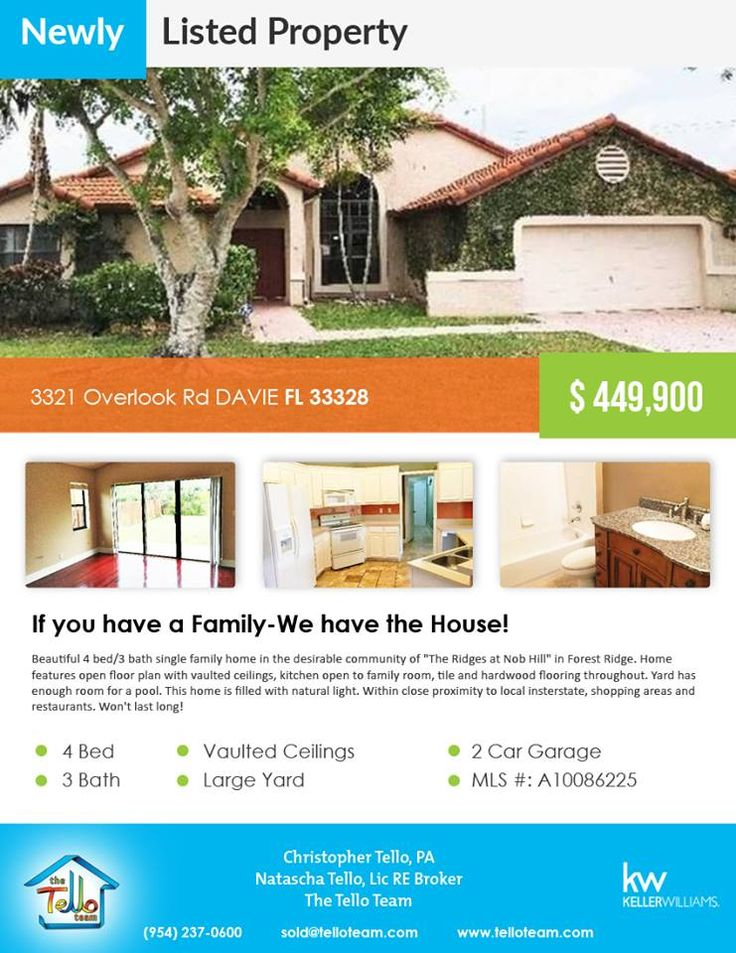 Just listed! $449,900 in Davie  3321 Overlook Rd DAVIE FL 33328