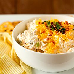 Loaded Baked Potato Dip  16 ounces sour cream  16 slices (12-ounce package) bacon, cooked and crumbled  8 ounces sharp cheddar cheese, shredded (about 2 cups)  1/3 cup thinly sliced scallions or chives