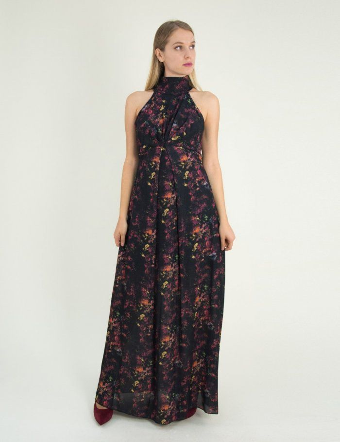 72e0e66b7122 Γυναικείο μαύρο φλοράλ maxi φόρεμα κολάρο 7361270  forema  φόρεμα  gynaika   online  to rouxo
