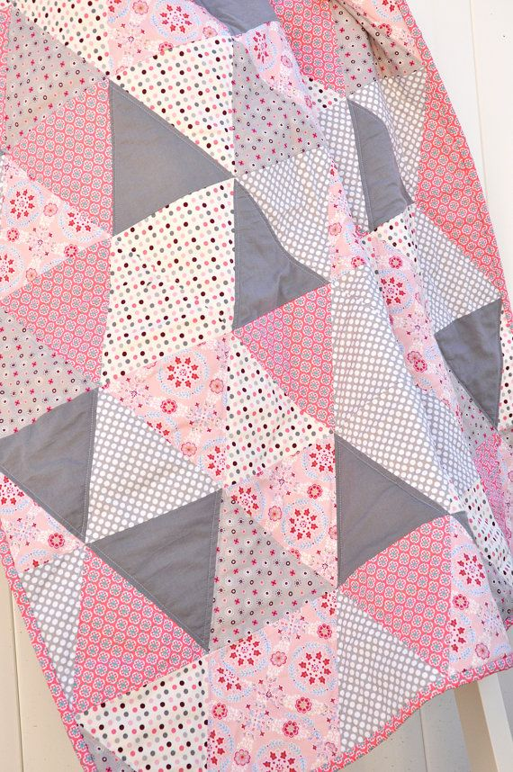 Baby Girl Quilt Pink and Gray Quilt Triangle Quilt by SewGingerly