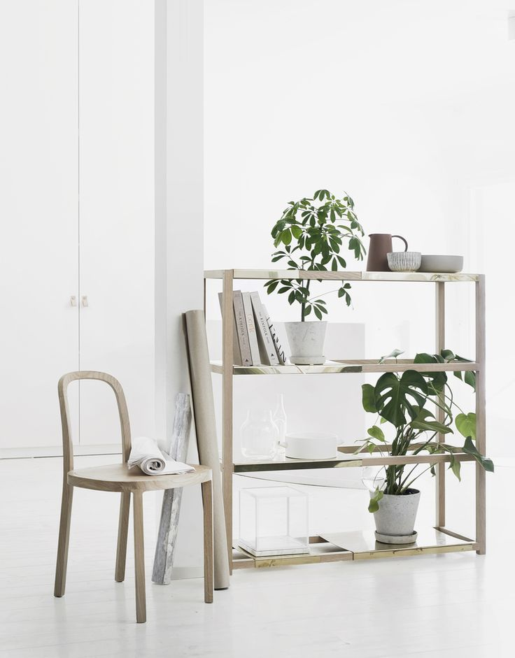 """A prototype for shelf by Riikka Kantinkoski & Pinja Rouger. Will be represented in Habitare '16 Housing Fare at Helsinki. Booth 6 b 97.  """"The BOTANIC shelf system consists of an oak frame and variable brass sheet shelves."""""""