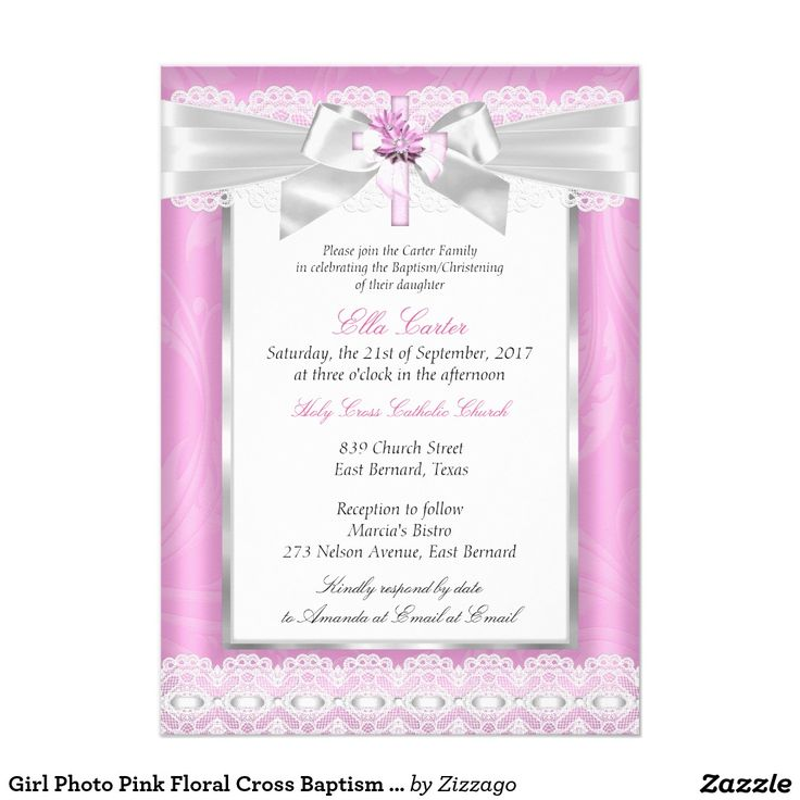 Girl Photo Pink Floral Cross Baptism Christening 5x7 Paper Invitation Card
