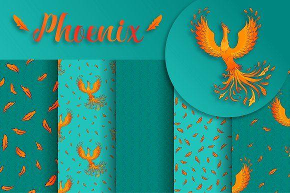 Phoenix. 5 vector patterns + bonus by Alla_Ri_Shop on @creativemarket