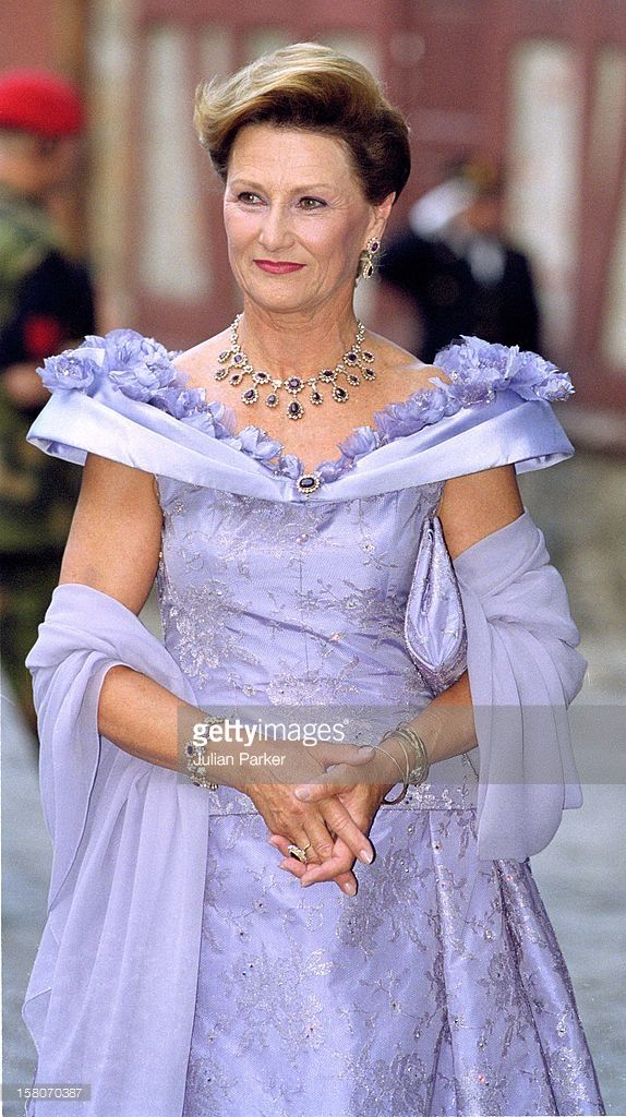 Queen Sonja Attends A Gala Dinner At Akershus Castle On The Evening Before The Wedding Of Crown Prince Haakon & Mette-Marit. .