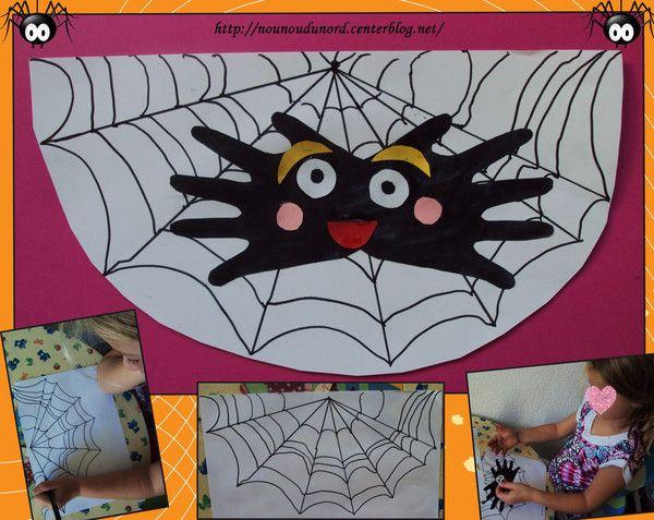 L 39 araign e aux empreintes de main bricolage d 39 halloween pinterest halloween - Bricolage d halloween ...