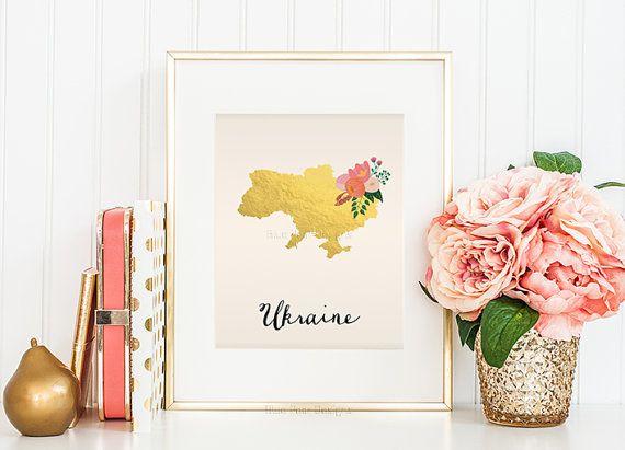 Ukraine Map Ukraine Art Ukraine Poster by WhitespaceAndDaisy