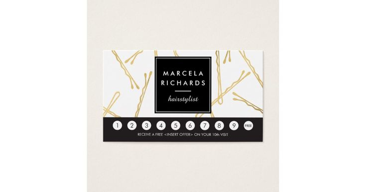 A fun and eye-catching design of falling faux gold bobby pins create an intriguing background on this stylish loyalty punch card for hairstylists, hair salons, beauty consultants and more. Update the promotion text for your desired offering. Generate more sales and visits by encouraging your customers to return for a discounted service or free product. Use a hole-punch or small stickers to validate each visit. Art and design © 1201AM CREATIVE